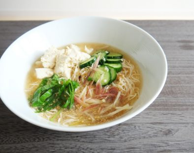 Cold-miso-soup-hiyajiru-noodle ヴィーガン冷や汁風とうふそうめん